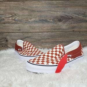 New Vans Classic Slip On Checkerboard Brown Shoes